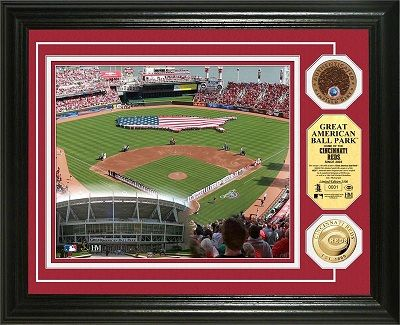 Cincinnati Reds Great American Ballpark Gold And Infield Dirt Framed Picture Myteamprints Com Framed Sports P Cincinnati Reds Cincinnati Baseball Posters