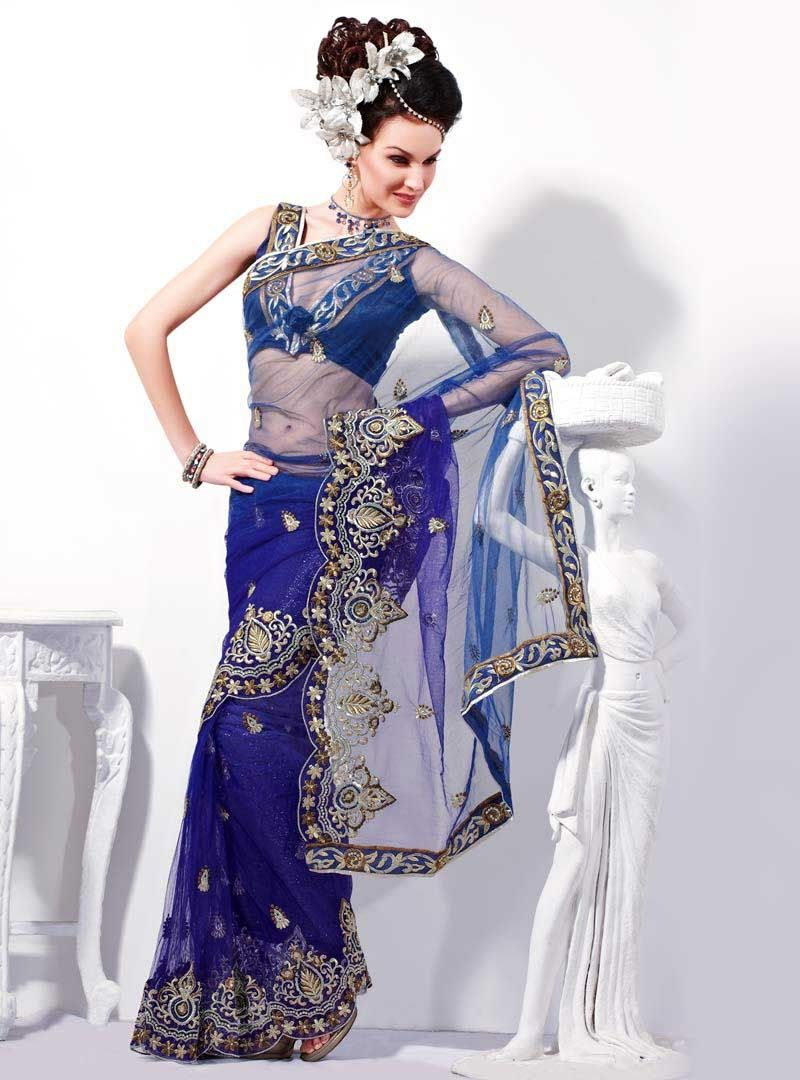 Royal blue and white wedding dress  Nothing says Glam like a Net Saree  Timeless Classics  Pinterest