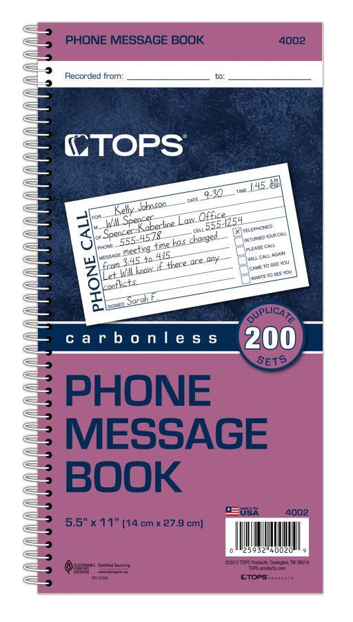 2 Part Carbonless Phone Message Book
