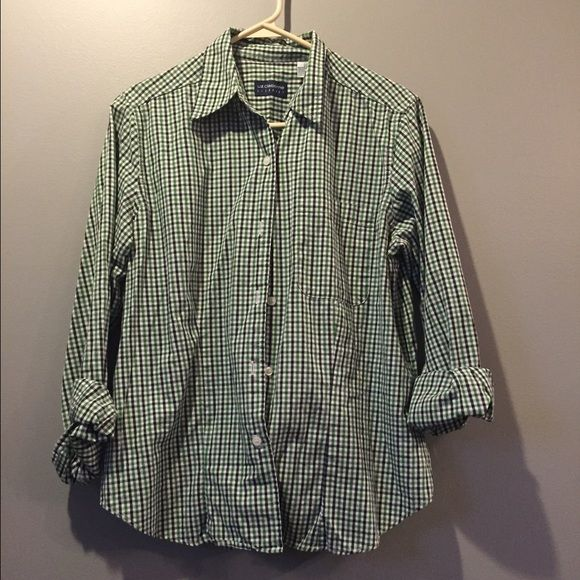 Kelly green and navy plaid button down top Kelly green and navy plaid button down top Liz Claiborne Tops Button Down Shirts
