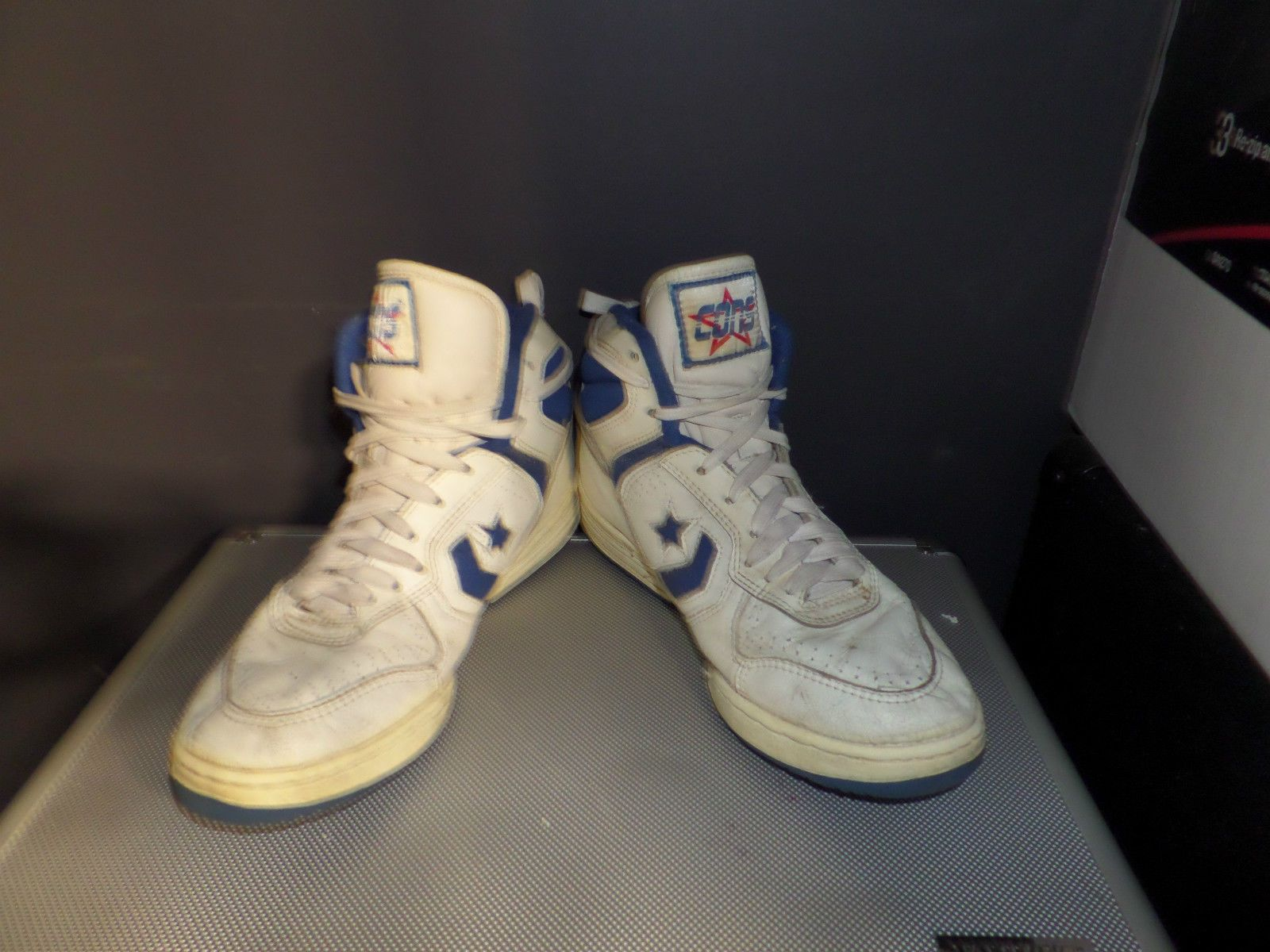 f2badd1c0ce6 Converse Shoes Vintage Deadstock Cons 8 Leather White Royal Blue 80s Size 8  5
