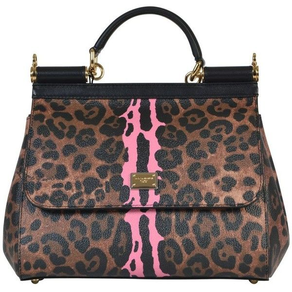 a203bc6febac Dolce Gabbana Medium Sicily Bag in Leopard Textured Leather ( 965) ❤ liked  on Polyvore featuring bags