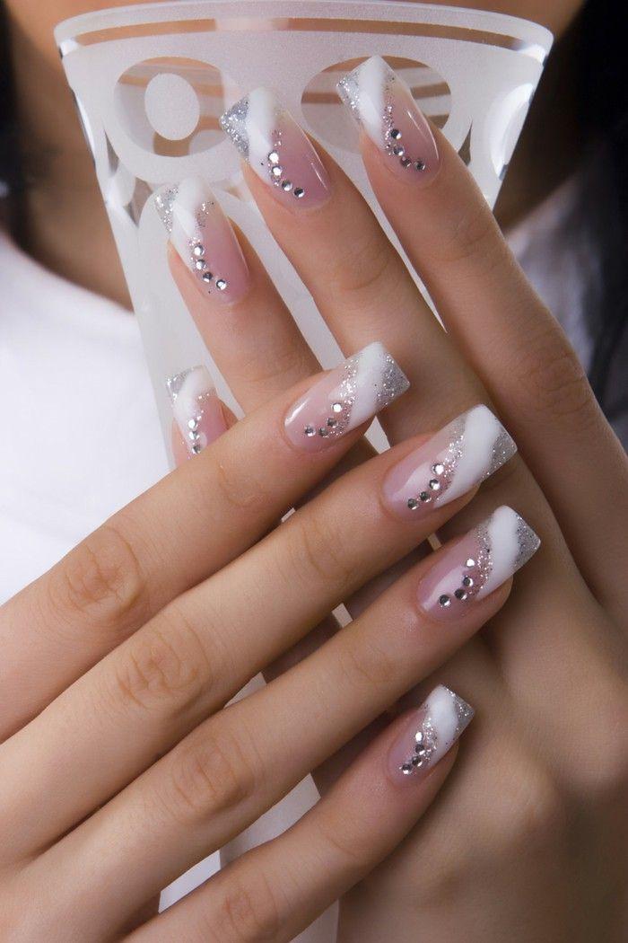 Finger nails design wedding nails gel nails silver shine rhinestones ...