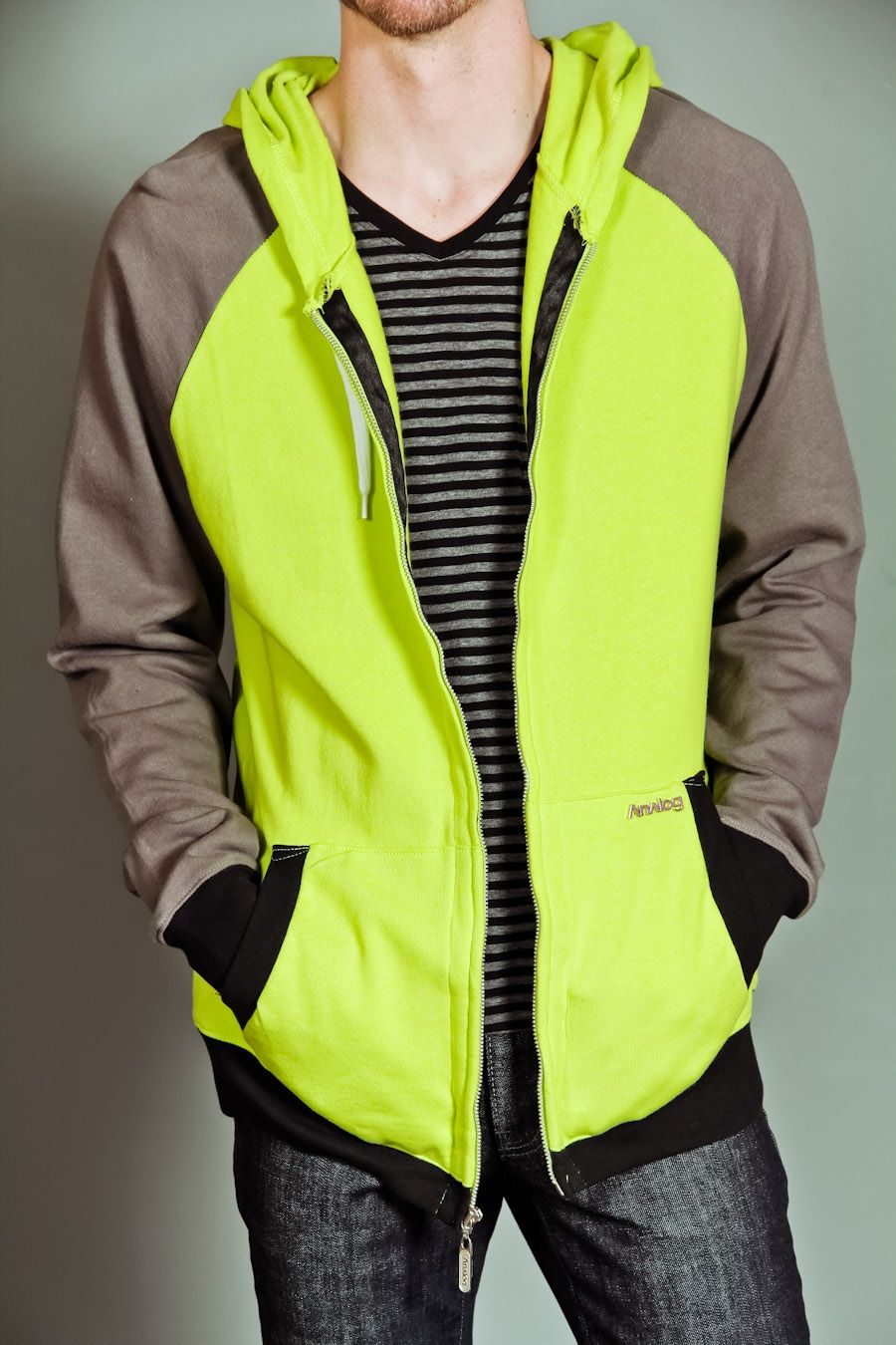 Analog Ag Ironman Full Zip Sweater Lime Green Men Casual Casual Clothes