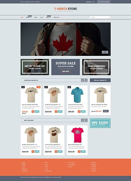 T-Shirts Online Store #Shopify #template. #themes #business #responsive #webshop #Shopifythemes