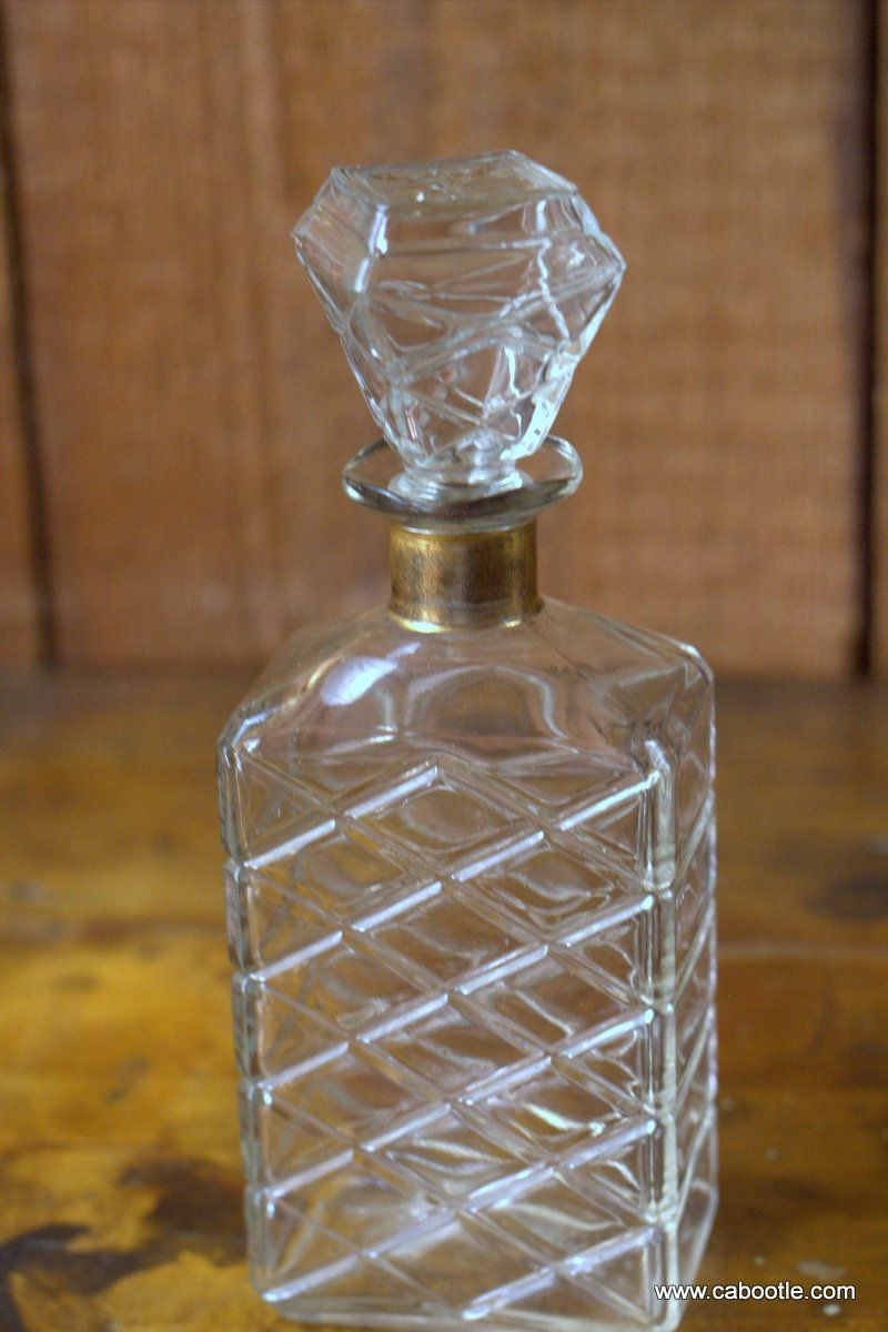 Vintage Glass Decanter Cross-Hatch Design $120 - Cabootle.com