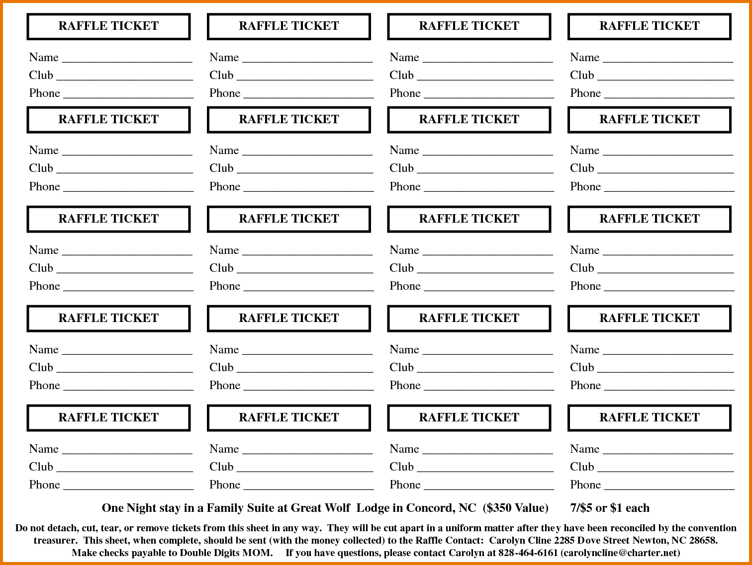 draw ticket template