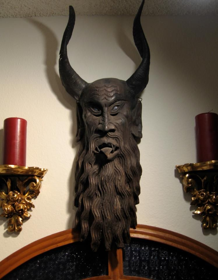 The Horned God Of The Forest Antique Wooden Mask With Real Antelope