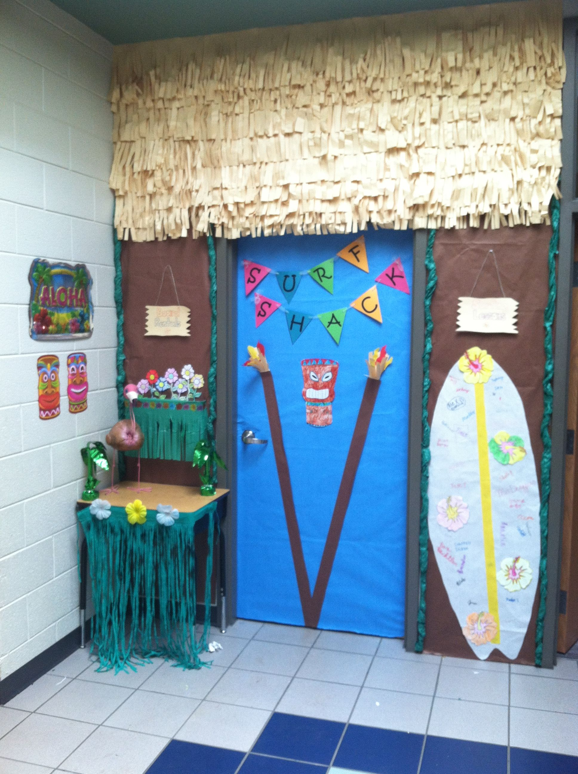 Classroom Luau Ideas : Island adventures hawaiian luau beach classroom door