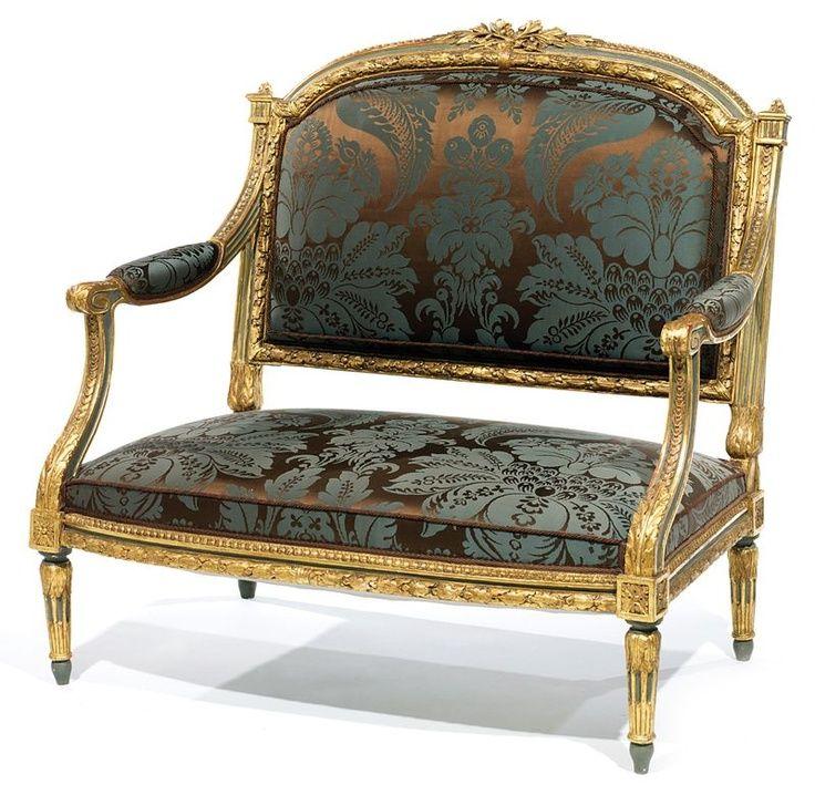 petit canap chapeau en bois rechampi gris et redor marquise poque louis xvi pinterest. Black Bedroom Furniture Sets. Home Design Ideas
