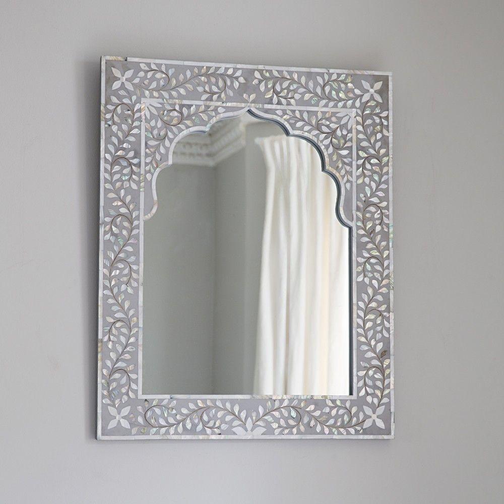 Kasbah Mother Of Pearl Mirror In Silver Grey Mother Of Pearl Mirror Framed Mirror Wall Simple Wall Decor Mother of pearl wall mirror