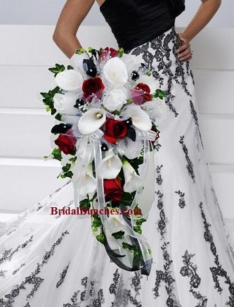 Black Red White Calla Lily Wedding Flowers Bridal Bouquet Choose Your Color