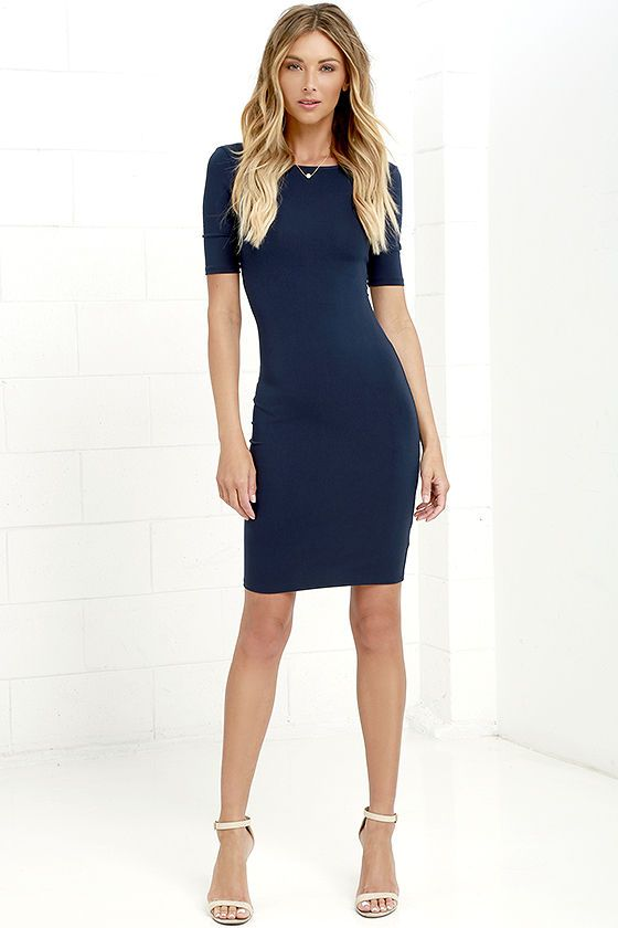 60291c6a1e Even the brightest constellation will have nothing on you in the Beneath  the Stars Navy Blue Bodycon Dress! Sleek and soft jersey knit forms a  perfectly ...
