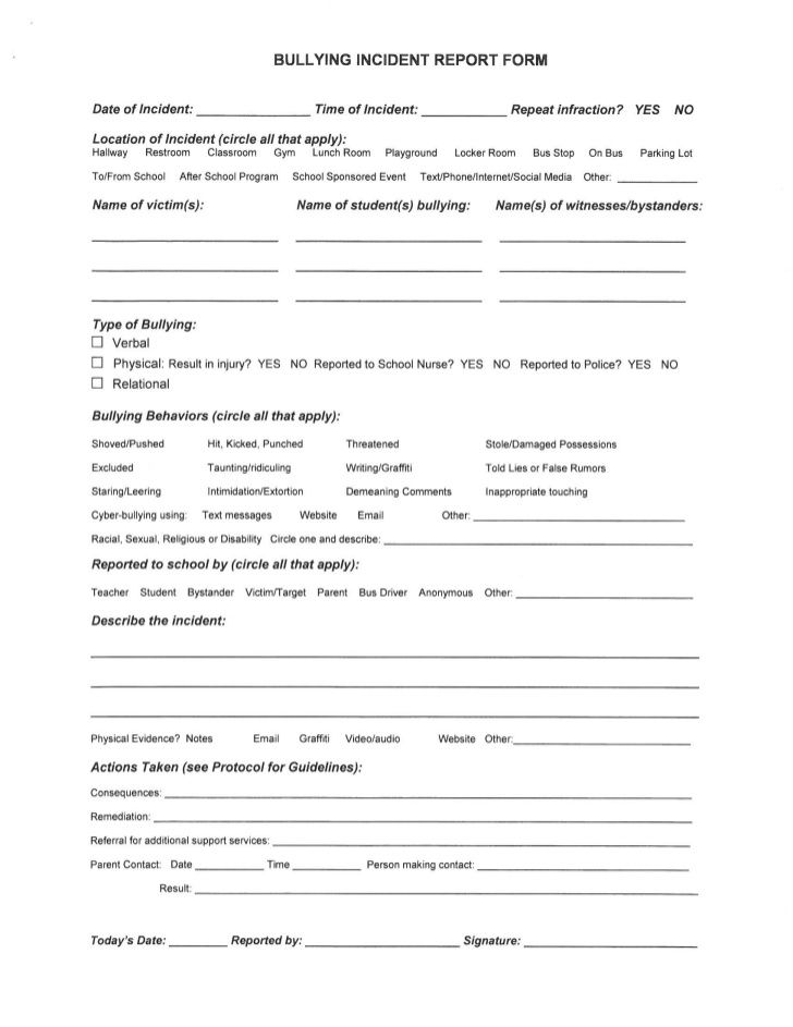 Bullying Incident Report Form  School Counselor