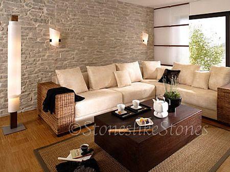 wohnzimmer steinwand - Google-Suche