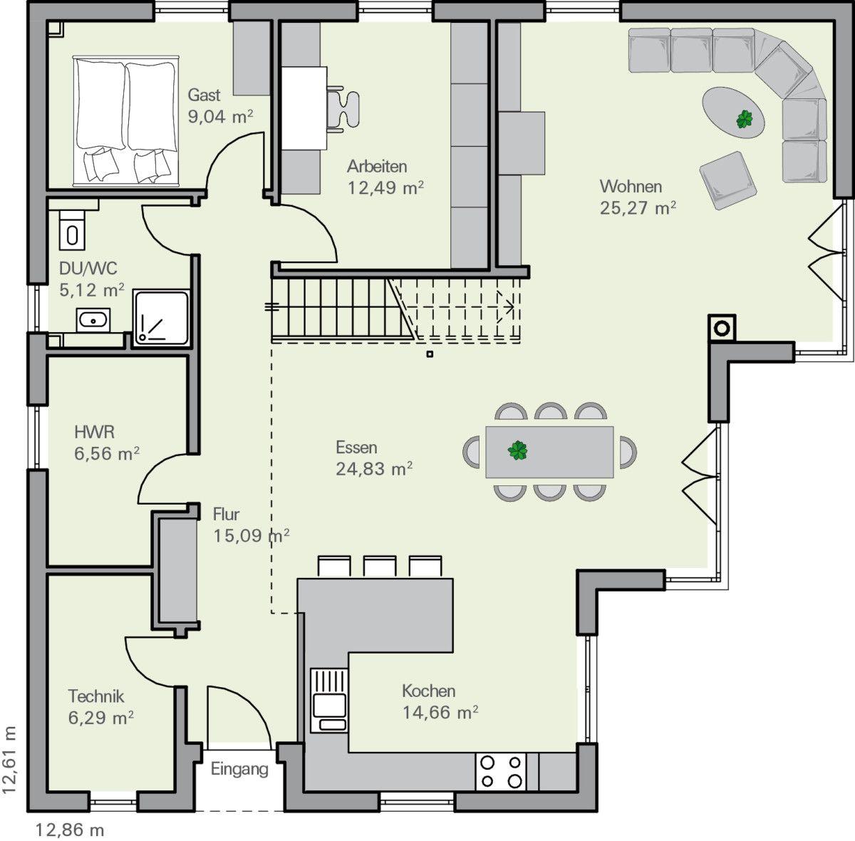 einfamilienhaus grundriss erdgeschoss offen mit kamin und garage baumeister haus nelsen. Black Bedroom Furniture Sets. Home Design Ideas