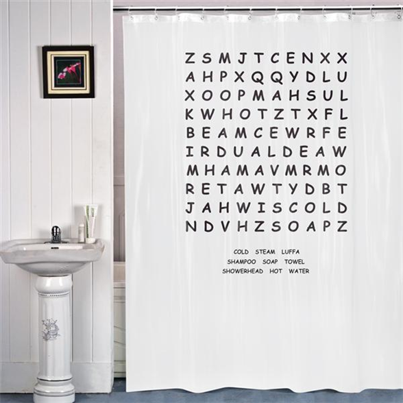 Keep Yourself Entertained In The Bathroom With This WORD SEARCH - Shower curtain with words