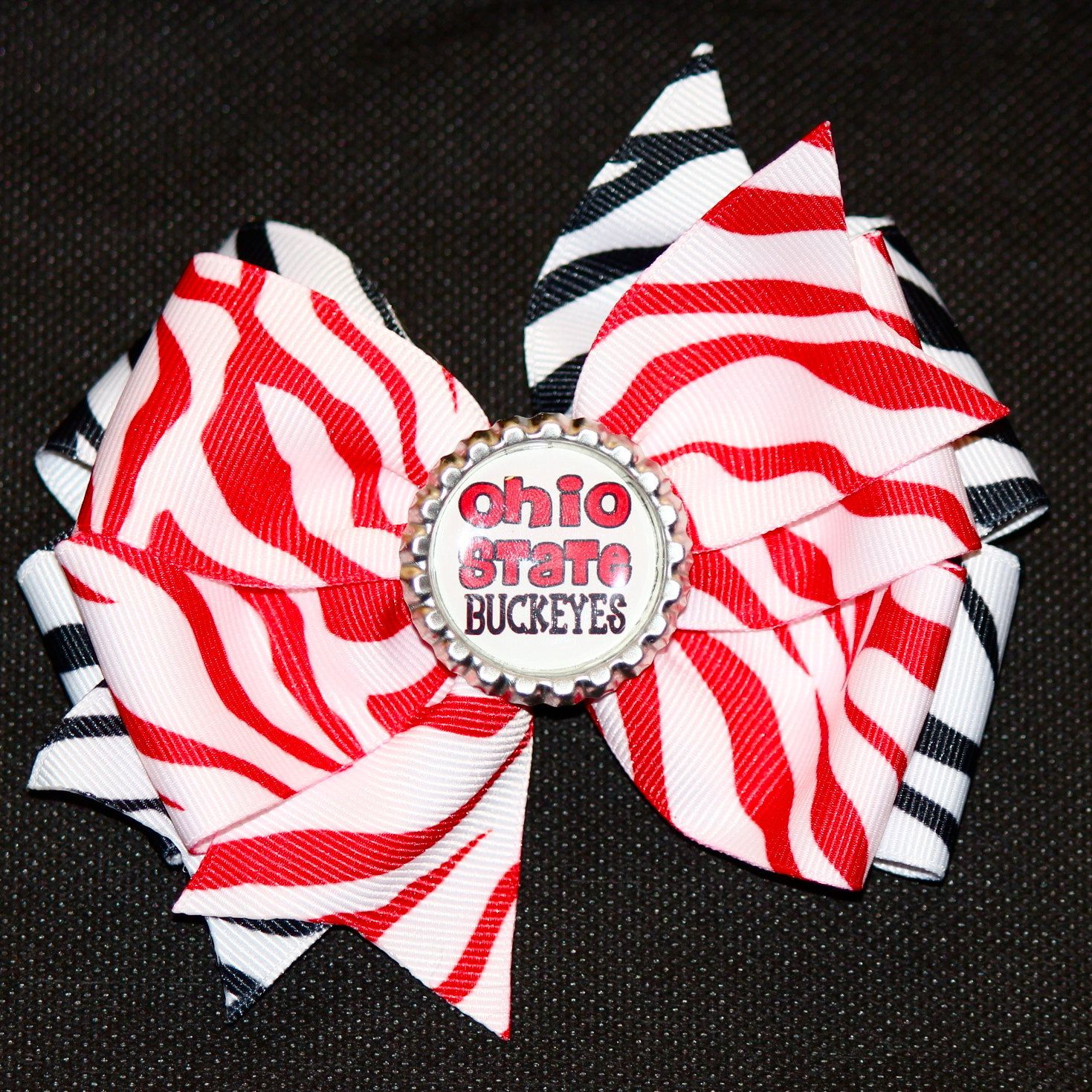 Zebra ohio state hair bow sport hair bows uc pinterest hair