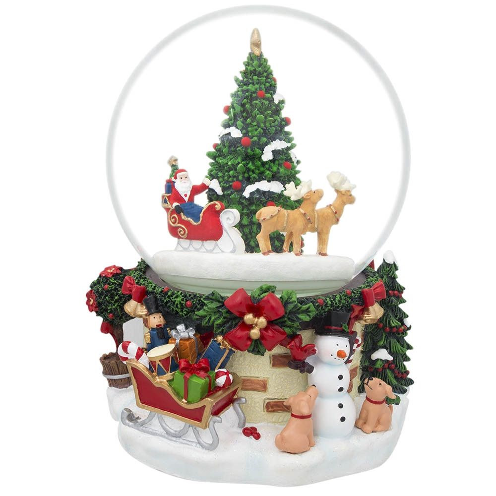 "7"" Animated Rotating Santa Claus on Reindeer Sleigh by Christmas Tree Musical Snow Globe"