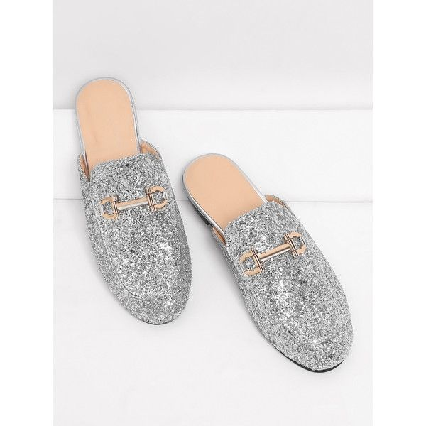 251167c0 SheIn(sheinside) Metal Detail Glitter Overlay Flat Mules (3225 RSD) ❤ liked  on Polyvore featuring shoes, flats, silver, flat shoes, round toe flats, ...