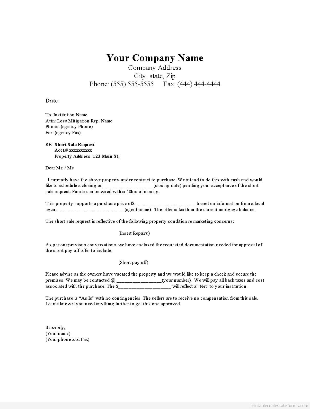 Printable Short Offer Letter Good Condition Template Sample - Real estate offer letter template