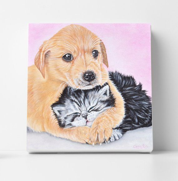 Dog and cat oil painting Pet supplies Puppy and kitten are hugging Pet portrait Dog portr Dog and cat oil painting Pet supplies Puppy and kitten are hugging Pet portrait...