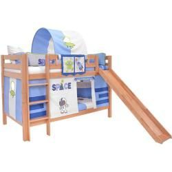 Photo of Children's bed loft bed Samuel solid beech wood with slide painted white incl. Rolling grille – 90 x 200 – https://makalemerkez.com/dekor