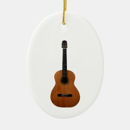 Musical Acoustic Guitar Christmas Ceramic Ornament Zazzle Com Ceramic Ornaments Ceramics White Porcelain