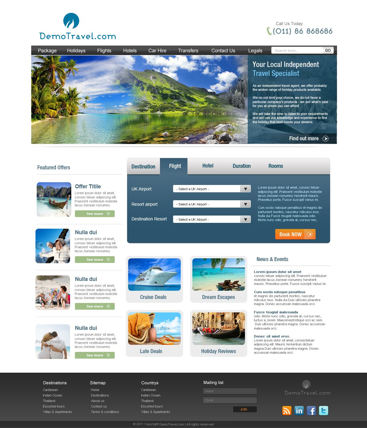 this website layout design for demo template for traveling portal. I ...