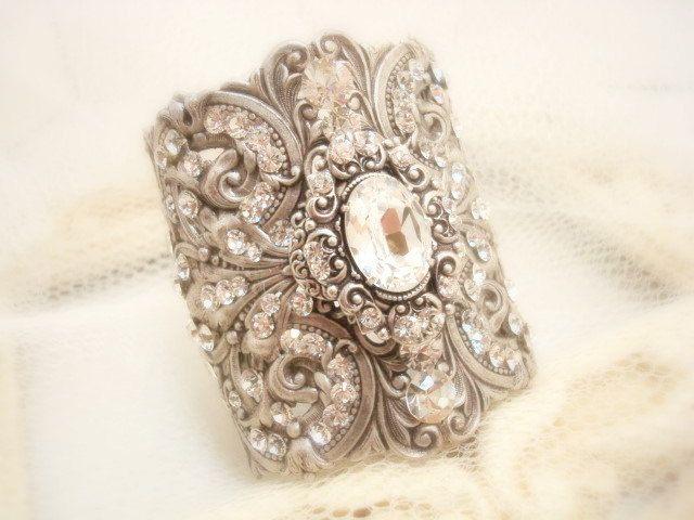 Bridal Cuff Bracelet Wedding Antique By Treasures570 120 00