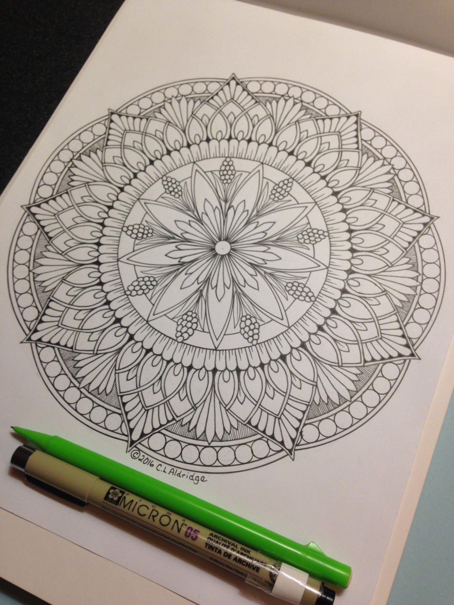 Ornamental Flower Mandala 006 Coloring Page Mandala Only Etsy Mandala Design Pattern Mandala Drawing Mandala Doodle