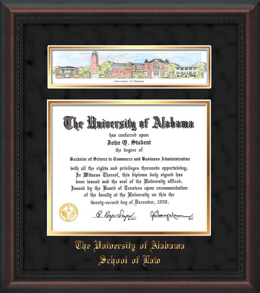 U of Alabama Diploma Frame-Mahogany Braid-w/UA Collage-LAW-Black/Go ...