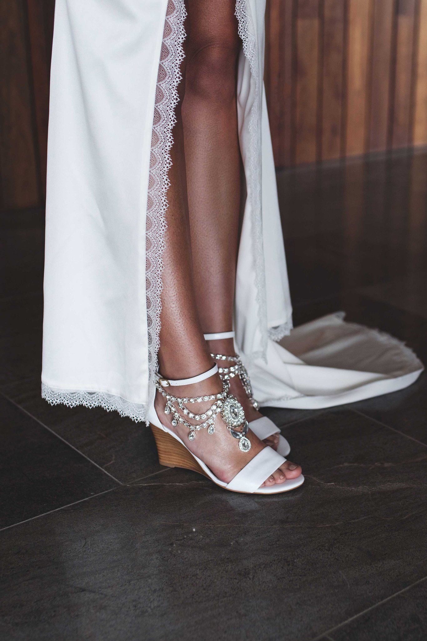 White Leather Bridal Shoes Wedge Heels For The Wedding Day