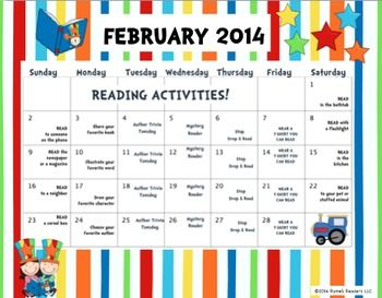 Freebie  I Love To Read Month Activity Calendar  I Love To