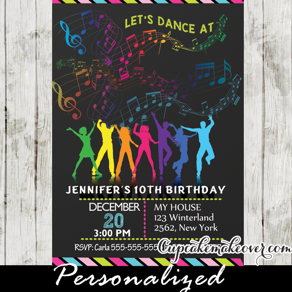 Dance Party Birthday Invitations, Rainbow Music Notes