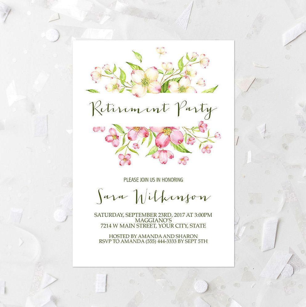 Dogwood Floral Retirement Party Invitation Printable Pink Floral ...