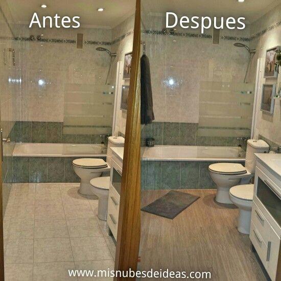 El antes y despues del ba o ppal con suelo de vinilo en - Suelos vinilicos para banos ...