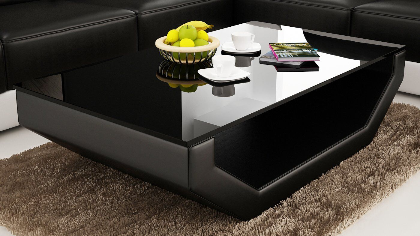 Contemporary Black Leather Coffee Table W Black Glass Table Top Leather Coffee Table Glass Table Tea Table Design