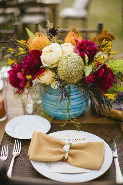 turquoise pottery centerpiece | Sara & Rocky #wedding