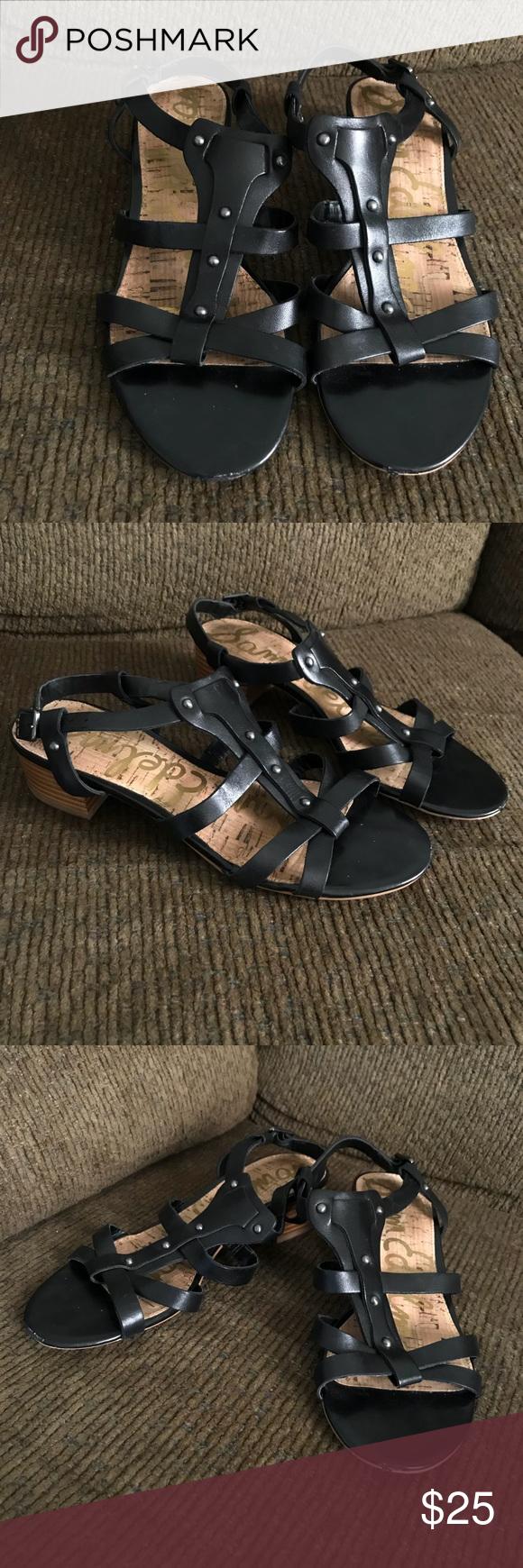 e755fa33fb9d7 Sz 7.5 Black Sam Edelman Angela Strappy Sandals