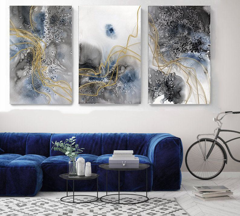 Blue Flow Contemporary Triptych Canvas Art Prints 3 Panels Etsy In 2020 Triptych Canvas Canvas Art Prints Modern Abstract Wall Art