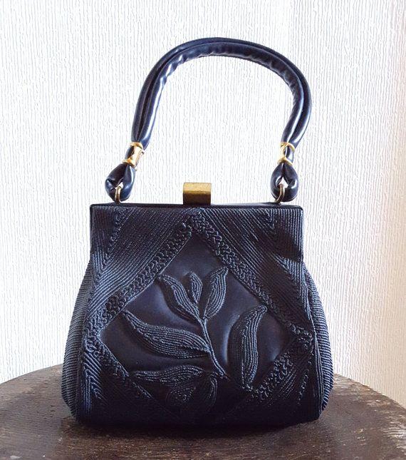 1940s Navy Blue Corde Effect Purse 40s Flower Motif Handbag Etsy Purses Handbag Vintage Purses