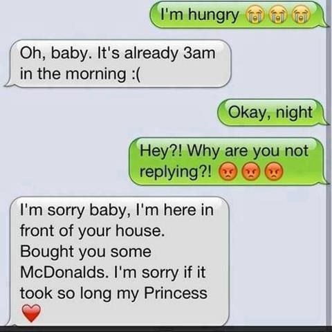 Imagine Niall texting u this. Plus saying that he bought out McDonald's for himself aswell