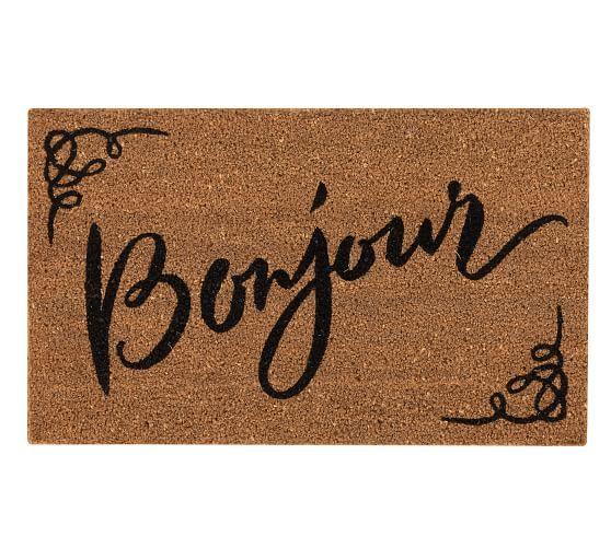 Bonjour Doormat With Images Door Mat Pottery Barn