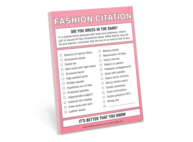Funny Novelty Gifts Fashion Citation Nifty Note KNOCK KNOCK - absence note