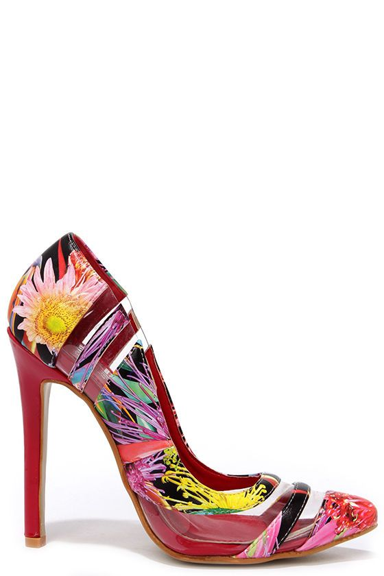 cd55bdd30125 Cute Floral Print Pumps - Lucite Pumps - Pointed Pumps -  38.00