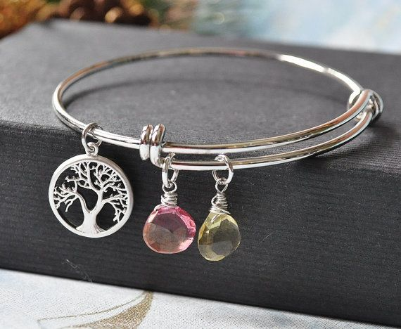 personalized birthstone and family tree charm bangle. Black Bedroom Furniture Sets. Home Design Ideas