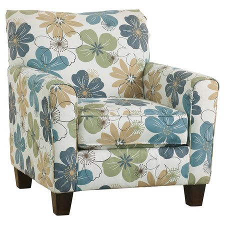 Upholstered In Lovely Floral Print This Delightful Arm Chair