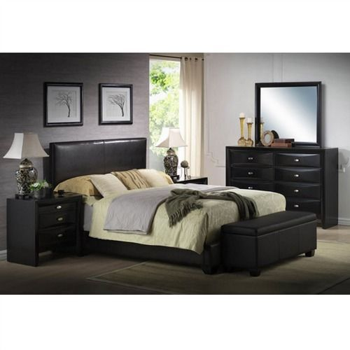 Queen Size Upholstered Headboard Faux Black Leather Bed