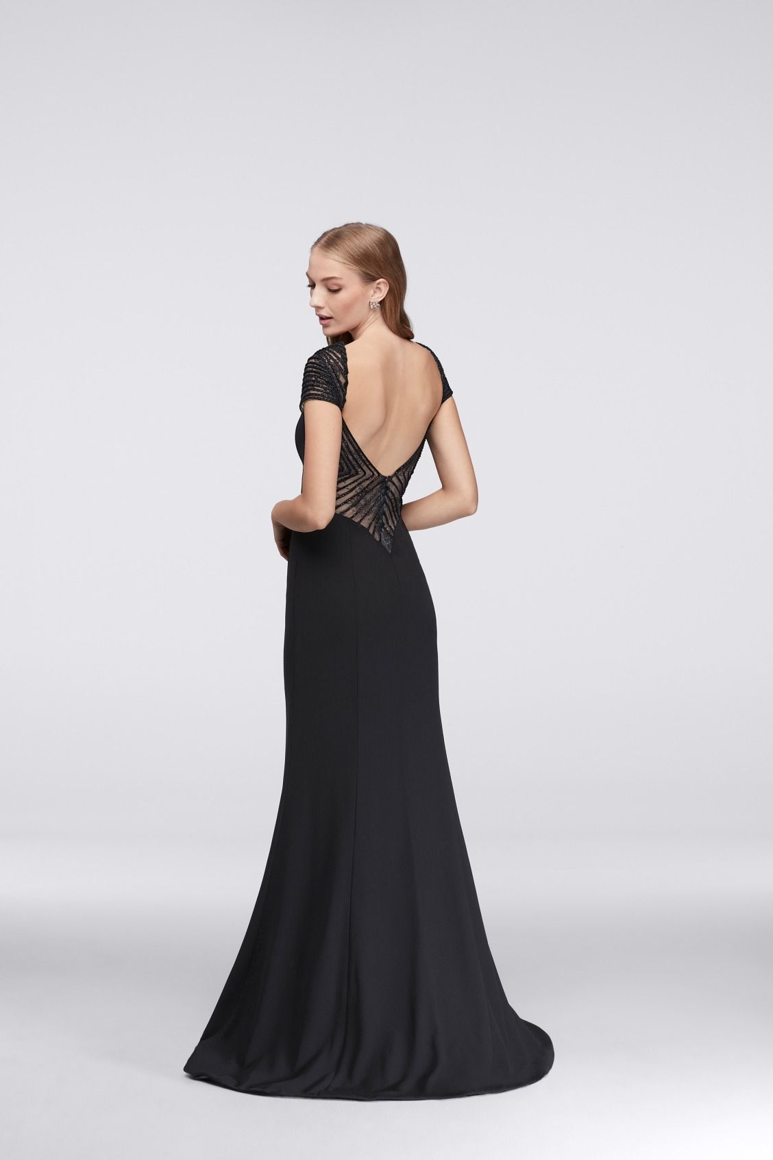 4fc1102246 ... go wrong with classic black for prom. This Crepe Column Prom Dress with  Geometric Beaded Illusion Neckline is perfect. Shop this look at David s  Bridal